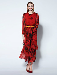 Boutique S Going out Chinoiserie / Sophisticated Sheath DressSolid Round Neck Maxi Long Sleeve Red Silk