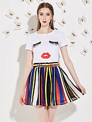 Set Jupe Costumes Femme,Imprimé Sortie simple Eté Manches Courtes Col Arrondi Blanc Polyester Moyen
