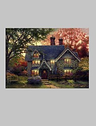 E-HOME® Stretched LED Canvas Print Art A Cabin in The Woods LED Flashing Optical Fiber Print One Pcs