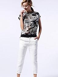 De las mujeres Pantalones Chinos-Simple Microelástico-Algodón / Rayón
