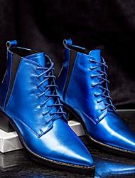 Feminino-Botas-Chanel / Rasteirinhas-Salto Baixo-Azul / Roxo / Branco-Pele-Casual