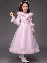 Ball Gown Tea Length Flower Girl Dress - Tulle Long Sleeves Jewel Neck by XMF