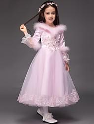 Robe de Soirée Longueur Genou Robe de Demoiselle d'Honneur Fille - Satin / Tulle Manches longues Bijoux avec Broderie / Volants