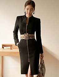 Women's Work Simple Sheath DressSolid Stand Knee-length Long Sleeve