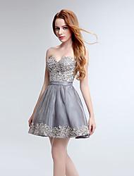 Vestido de fiesta de cóctel a-line sweetheart corto / mini tul de encaje con patrón / impresión