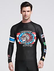 SBART Men's Wetsuit Top Ultraviolet Resistant Anti-Eradiation Sunscreen Elastane Terylene Diving Suit Long Sleeve Tops-Swimming Diving