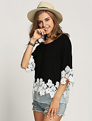 Damen Patchwork Street Schick Lässig/Alltäglich T-shirt,Rundhalsausschnitt Sommer ½ Länge Ärmel Schwarz Polyester Mittel