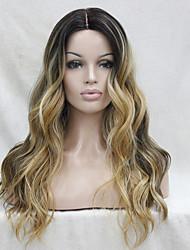 Mujer Pelucas sintéticas Encaje Frontal Largo Ondulado Marrón Pelo Ombre Raíces oscuras Entradas Naturales Raya en medio peluca de encaje