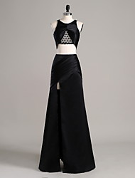 Formal Evening Dress Sheath / Column Jewel Floor-length Satin with Lace