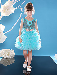 Ball Gown Knee-length Flower Girl Dress - Lace Tulle V-neck with Beading Sash / Ribbon Sequins