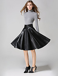 Women's Solid Black SkirtsSimple Knee-length