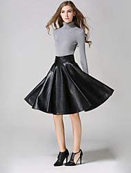 Women's Solid Black SkirtsSimple Knee-length