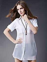 Mulheres Camisa Casual Simples Todas as Estações,Sólido Branco Poliéster Colarinho de Camisa Manga Longa Fina