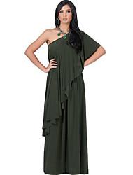 Ample Robe Femme Décontracté / Quotidien / Grandes Tailles Vintage,Couleur Pleine Asymétrique Maxi / Mi-long Manches CourtesBleu / Rouge