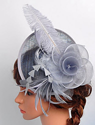 Women's Black Birdcage Veils Organza Headpiece-Wedding Tulle Net Fascinators with Rose Lace Feather Hat