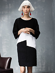 ROOM404  Women's Going out Simple Loose DressColor Block Round Neck Above Knee Sleeve