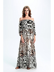 Women's Party Street chic Swing DressAnimal Print Strapless Maxi Long Sleeve White Silk Spring / Fall High Rise