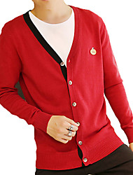 Men's Solid Casual / Work / Formal / Plus Size Cotton Long Sleeve Slim Fashion Leisure Cardigan 8Colors 6Sizes