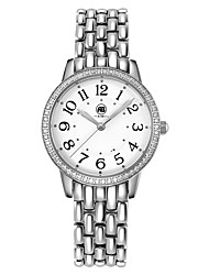 Victoria Silver Case White Dial Silver Stainless Steel Strap Watch
