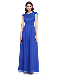 A-Line Jewel Neck Floor Length Chiffon Lace Bridesmaid Dress with Buttons Lace by LAN TING BRIDE®