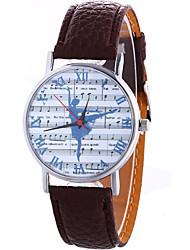 Women's Fashion Cool Quartz Casual Watch Leather Belt Music Score Dancing Movement Pattern Watch Unique Watch