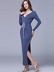 Feminino Bainha Vestido,Casual / Férias Sensual / Simples Sólido Decote V Longo Manga Longa Azul Poliéster Primavera / OutonoCintura