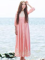 Ample Robe Femme Décontracté / Quotidien simple / Chinoiserie,Broderie Col Ras du Cou Mi-long Manches ¾ Rose Polyester Printemps / Eté