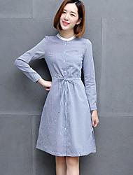 Mujer Camisa Vestido Noche Simple,A Rayas Escote Chino Hasta la Rodilla Manga Larga Azul / Gris Algodón Otoño Tiro Medio Microelástico