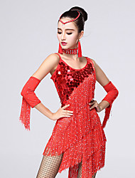 Latin Dance Dresses Women's Performance Chinlon / Milk Fiber Sequins / Rhinestones / Tassel(s) 4 Pieces Outfit