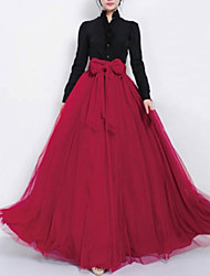 Women's Black/Blue/Purple/Red Skirts , Casual/Party Maxi