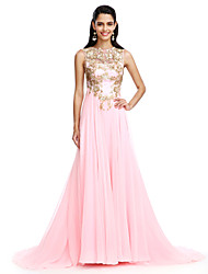 2017 TS Couture® Formal Evening Dress A-line Jewel Sweep / Brush Train Chiffon with Appliques / Sequins
