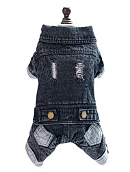 Dog Clothes/Jumpsuit Denim Jacket/Jeans Jacket Black Dog Clothes Winter Spring/Fall Jeans Cowboy Fashion