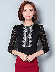Women's Plus Size / Work Sexy Fall / Winter BlouseSolid Crew Neck Long Sleeve White / Black Cotton / Polyester Medium