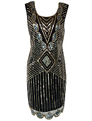 Women's Formal / Party Vintage 1920s Bodycon / Sheath Dress,Paisley U Neck Knee-length Sleeveless Polyester