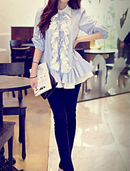Pink Doll®Women's Shirt Collar Casual Ruffle Lantern Sleeve Shirt