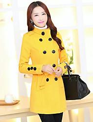 Women's Casual/Daily Simple / Street chic Slim Coat Solid Shirt Collar Long Sleeve Winter Woolen Coat