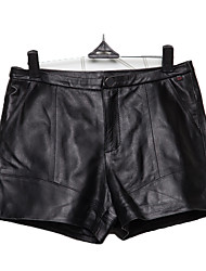 Women's Black Leather Trousers Shorts Pants Simple