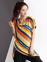 Yishidian® Femme Col Arrondi Manche Courtes T-shirt Jaune-YSD1333