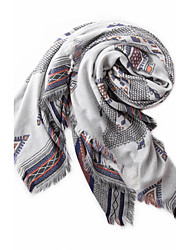 Women Polyester Scarf  Vintage  Casual Square  Red  Black  Blue  Pink  Gray  Khaki  Print