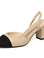 Damen-High Heels-Lässig-PU-Blockabsatz-Absätze-Schwarz / Mandelfarben