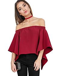 Damen Solide Sexy / Street Schick Ausgehen / Party/Cocktail T-shirt,Trägerlos Sommer / Herbst ¾-Arm Rot / Beige Kunstseide / Polyester