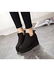 Women's Boots Spring Fall Fashion Boots Rubber Outdoor Flat Heel Others Black Red Walking