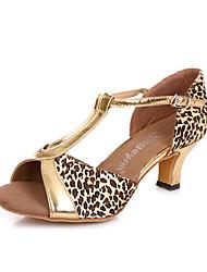 Chaussures de danse(Noir Or) -Non Personnalisables-Talon Bottier-Daim-Latines Salsa