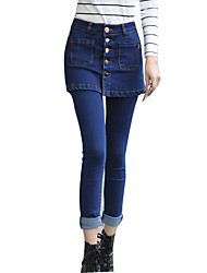Women's Plus Size Popular Solid Slim Jeans Pants with Skirt Simple / Street chic
