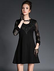 Damen Hülle Kleid-Ausgehen / Lässig/Alltäglich Sexy Solide Rundhalsausschnitt Mini ¾-Arm Schwarz Baumwolle / Elasthan Sommer / Herbst