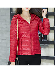 Women's Regular Down Coat,Sexy Cute Going out Solid-Polyester White Duck Down Long Sleeve Round Neck