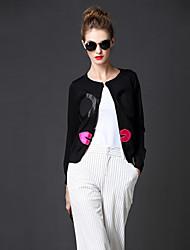 las mujeres frmz de salir de la calle medio cardiganembroidered regulares elegante negro de cuello redondo manga larga