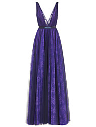 Formal Evening Dress A-line V-neck Floor-length Lace / Tulle with Lace / Sash / Ribbon