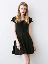 Linjou Women's Simple A Line DressSolid V Neck Above Knee Short Sleeve Black Polyester Summer High Rise Inelastic