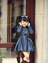 Girl's Casual/Daily Solid Dress / Overall & JumpsuitCotton Winter / Spring / Fall Blue
